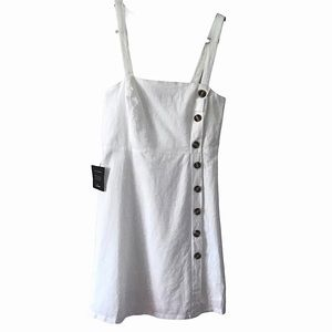 LULU'S LOUETTA WHITE BUTTON DOWN MINI DRESS